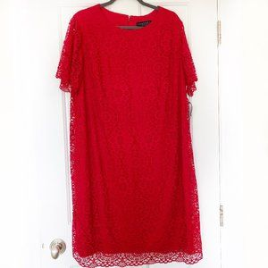 Laundry by Shelli Segal Red Lace Cap Sleeve Dress